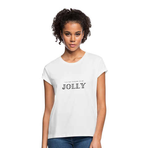 Tis' The Season to Be Jolly Christmas Women's Relaxed Fit T-Shirt - white