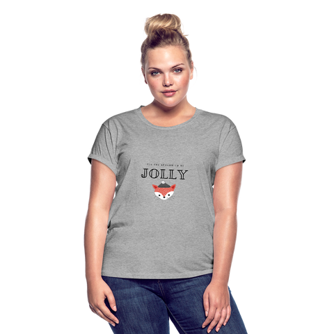 Tis' The Season to Be Jolly Cute Fox Christmas Women's Relaxed Fit T-Shirt - heather gray