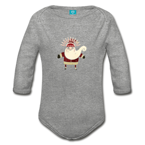 Santa Claus Organic Long Sleeve Baby Bodysuit - heather gray