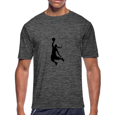 Custom Men's Moisture Wicking Basketball Performance T-Shirt - dark heather gray