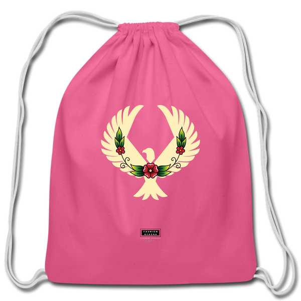 Fashion Ayasha Eagle Floral Cotton Drawstring Bag - pink