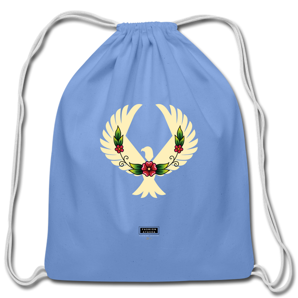 Fashion Ayasha Eagle Floral Cotton Drawstring Bag - carolina blue