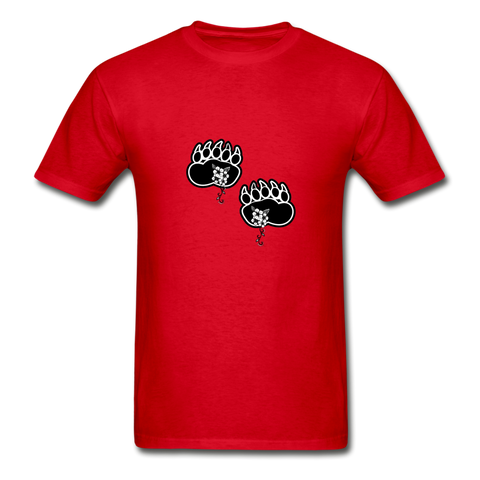 Black Bear Paws Indigenous Flowers Gildan Short-Sleeve T-Shirt - red