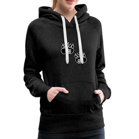 Fashion Ayasha Bear Paw Logo Women's Premium Hoodie - charcoal gray