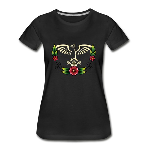 Anishinaabe Eagle with Flowers Women's Premium Organic T-Shirt - black