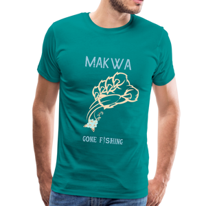 Makwa Gone Fishing Men's Premium T-Shirt - teal