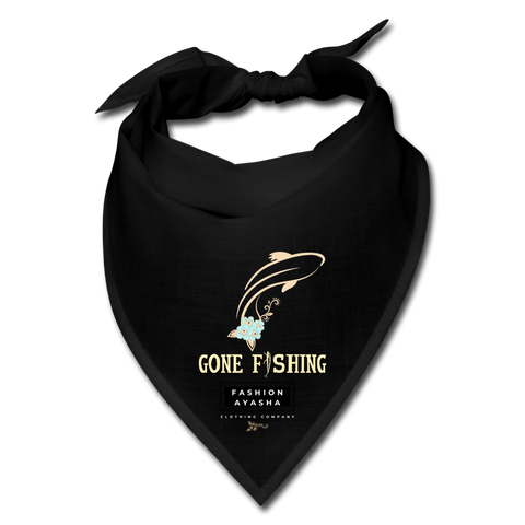 Fashion Ayasha Gone Fishing Bandana Face Mask - black