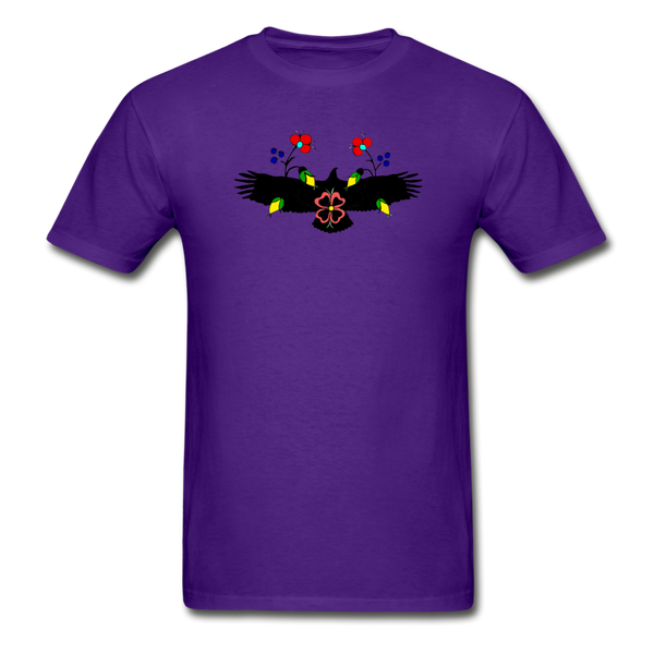 Ojibwe Eagle with Flowers Gildan Ultra Cotton Men's T-Shirt - purple