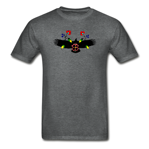 Ojibwe Eagle with Flowers Gildan Ultra Cotton Men's T-Shirt - deep heather