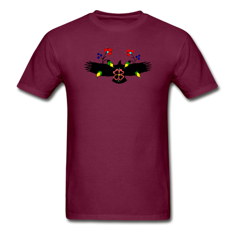 Ojibwe Eagle with Flowers Gildan Ultra Cotton Men's T-Shirt - burgundy