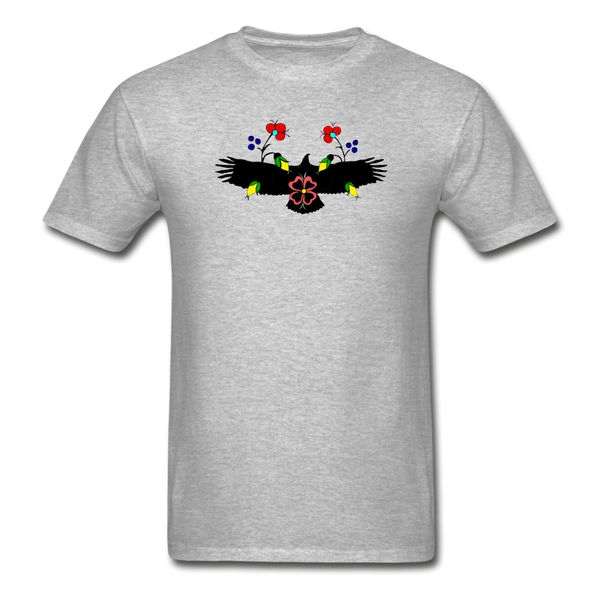 Ojibwe Eagle with Flowers Gildan Ultra Cotton Men's T-Shirt - heather gray