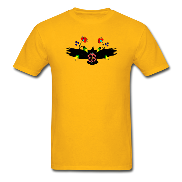 Ojibwe Eagle with Flowers Gildan Ultra Cotton Men's T-Shirt - gold