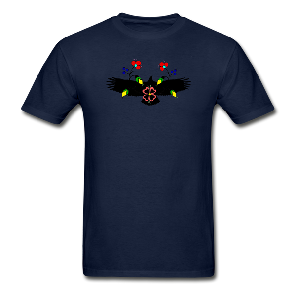 Ojibwe Eagle with Flowers Gildan Ultra Cotton Men's T-Shirt - navy