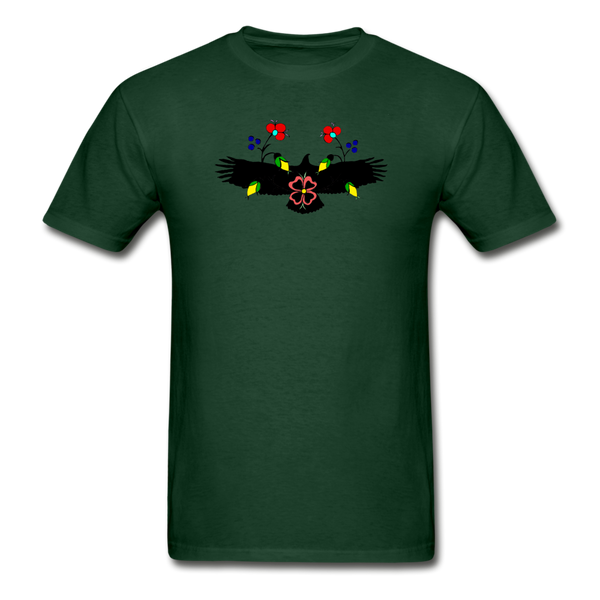 Ojibwe Eagle with Flowers Gildan Ultra Cotton Men's T-Shirt - forest green