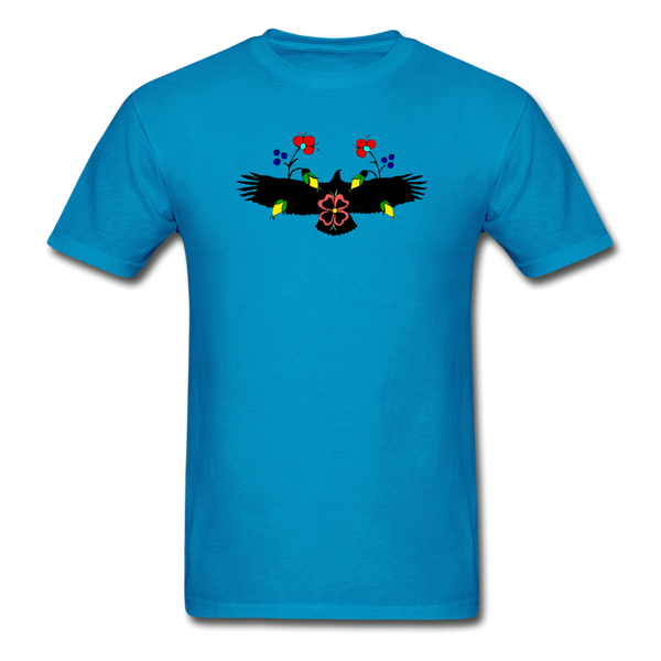 Ojibwe Eagle with Flowers Gildan Ultra Cotton Men's T-Shirt - turquoise