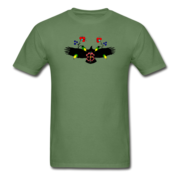 Ojibwe Eagle with Flowers Gildan Ultra Cotton Men's T-Shirt - military green