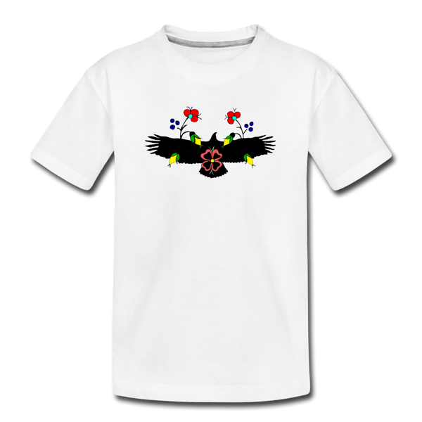 Eagle with Flowers Kids' Premium T-Shirt - white