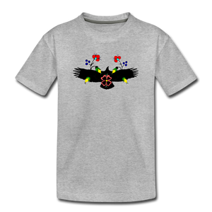 Eagle with Flowers Kids' Premium T-Shirt - heather gray