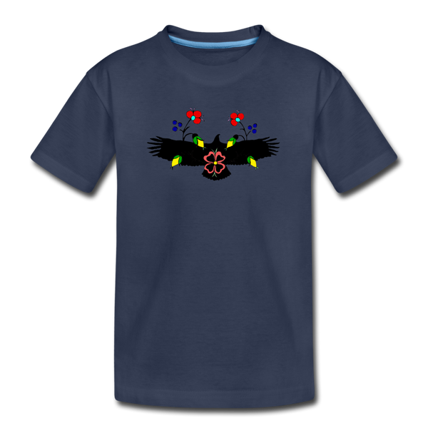 Eagle with Flowers Kids' Premium T-Shirt - navy