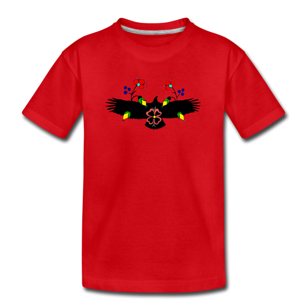 Eagle with Flowers Kids' Premium T-Shirt - red