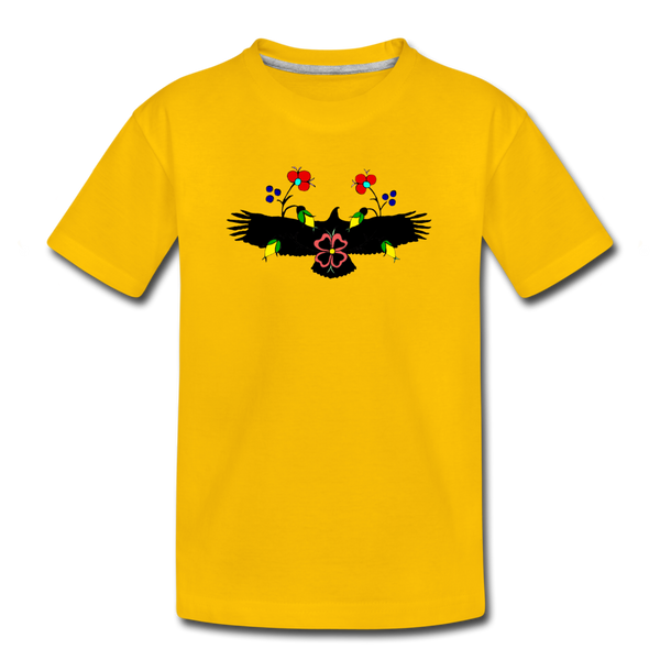 Eagle with Flowers Kids' Premium T-Shirt - sun yellow