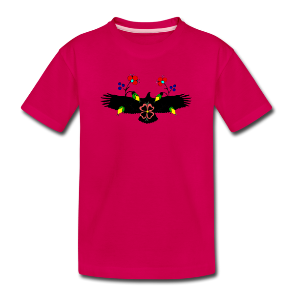 Eagle with Flowers Kids' Premium T-Shirt - dark pink