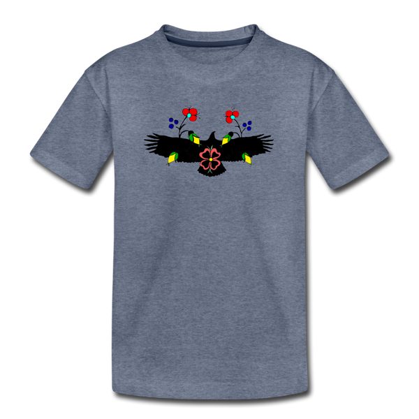 Eagle with Flowers Kids' Premium T-Shirt - heather blue