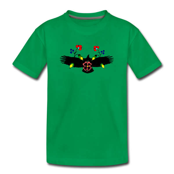 Eagle with Flowers Kids' Premium T-Shirt - kelly green