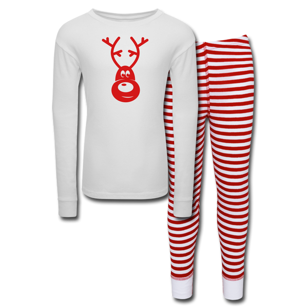 Cute Reindeer Kids' Pajama Set - white/red stripe