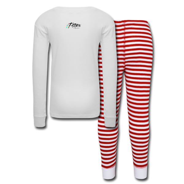 We Wish You A Merry Christmas And A Happy New Year Kids' Pajama Set - white/red stripe