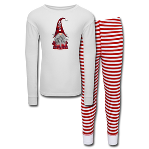 Adorable Christmas Gnome Check Plaid Kids' Pajama Set - white/red stripeAdorable Christmas Gnome Check Plaid Kids' Pajama Set