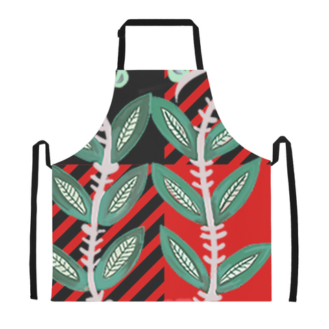 Red and Black Buffalo Check Plaid Green Foliage Apron