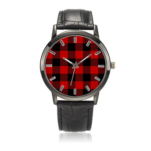 Buffalo Check Red and Black Plaid Waterproof Quartz Fashion Ayasha Watch With Black Genuine Leather Band
