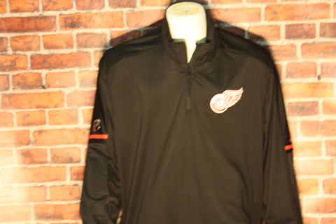 Detroit Red Wings adidas Black Authentic Pro Quarter-Zip Jacket