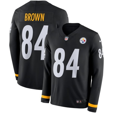 Men's Nike Antonio Brown Black Pittsburgh Steelers Therma Jersey - Pullover Sweatshirt