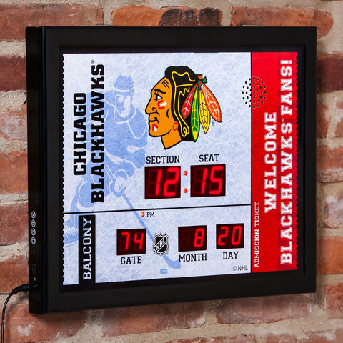Chicago Blackhawks Alarm Clock Scoreboard