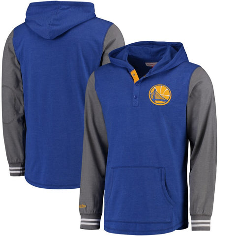 Men's Golden State Warriors Mitchell & Ness Royal Mid-Season Long Sleeve Hooded T-Shirt