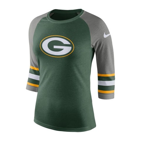 Green Bay Packers Nike Raglan Tri Sleeve Womens Long Sleeve T-shirt