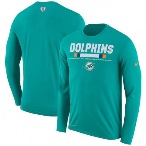 Miami Dolphins Nike Sideline Legend Staff Performance Long Sleeve T-Shirt - Aqua