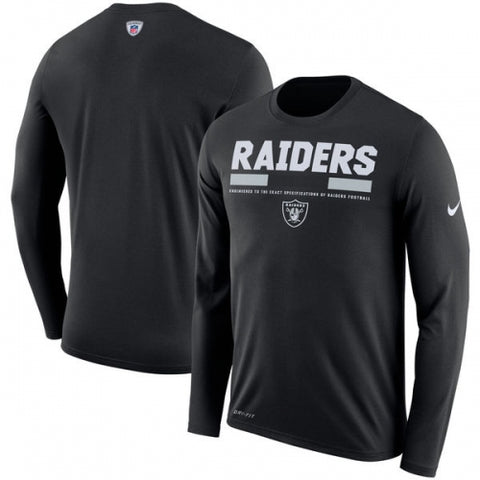 Oakland Raiders Nike Sideline Legend Staff Performance Long Sleeve T-Shirt - Black