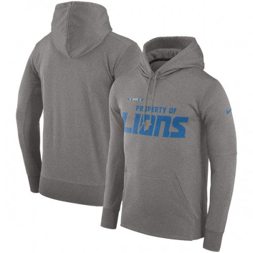352b3994 Detroit Lions Nike Sideline Property Of Performance Pullover Hoodie -  Heather Gray