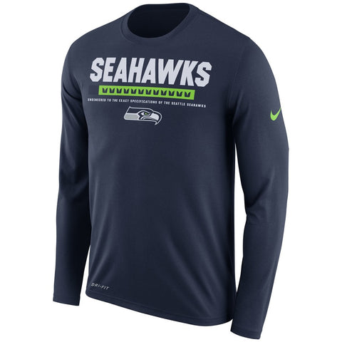 Seattle Seahawks Nike Sideline Legend Staff Performance Long Sleeve T-Shirt - Navy