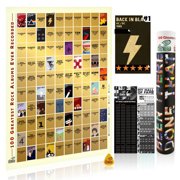 BTDT AUDIOLOGUES ROCK EDITION | 100 Greatest Rock Albums Bucket List Scratch Poster Interactive Scratch Off Posters BEEN THERE DONE THAT