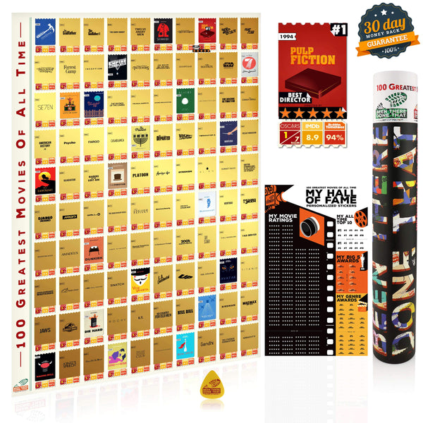 BTDT MOVIELOGUES | 100 Greatest Movies Bucket List Scratch Poster Interactive Scratch Off Posters BEEN THERE DONE THAT