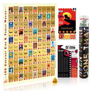 BTDT MOVIELOGUES KIDS EDITION | 100 Greatest Kids & Family Movies Bucket List Scratch Poster Interactive Scratch Off Posters BEEN THERE DONE THAT
