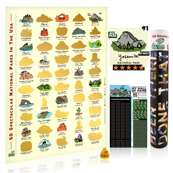 BTDT PARKLOGUES | 50 Spectacular US National Parks Bucket List Scratch Poster Interactive Scratch Off Posters BEEN THERE DONE THAT