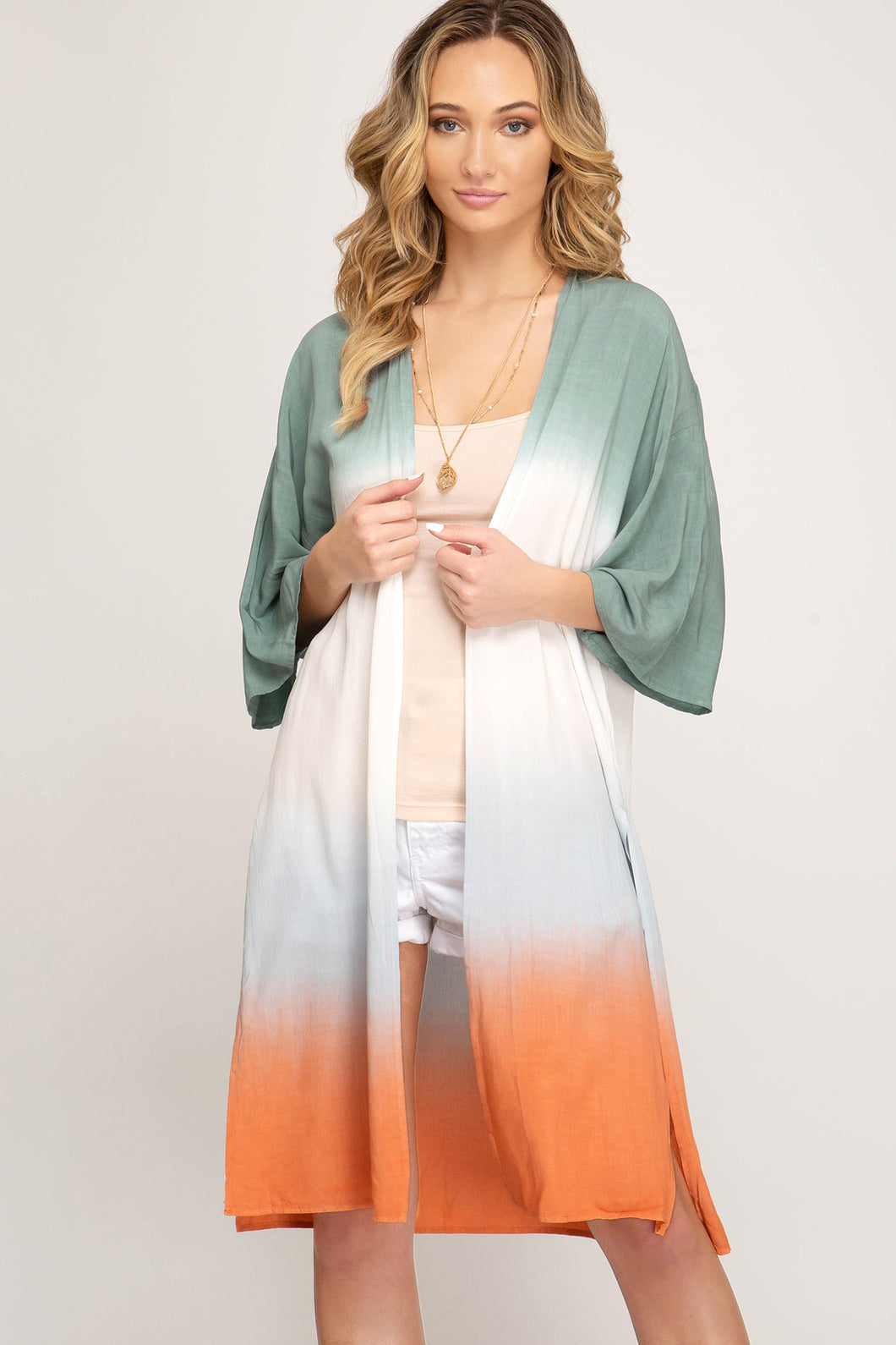 SLATED GREEN AND ORANGE CARDIGAN