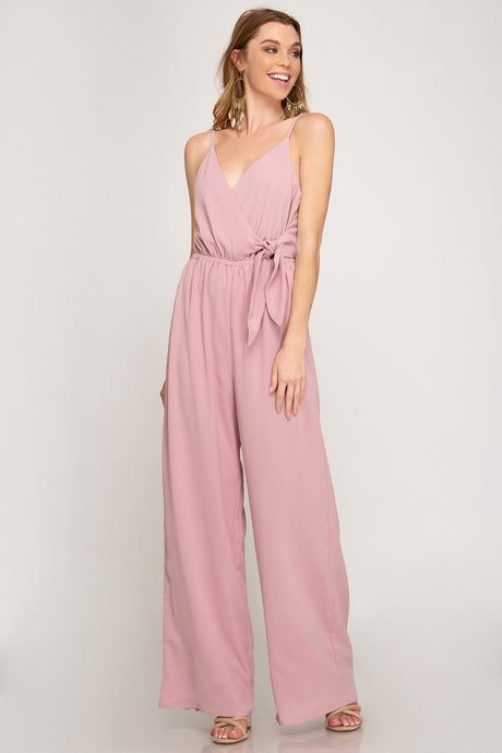 VNECK ROMPER WITH SIDE BODY BOW TIE