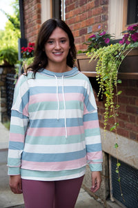 Striped Funnel light weight Sweatshirt