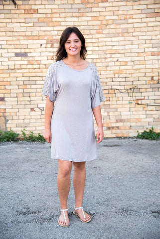 Silver Half Sleeve Lace Dress